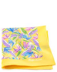 Pañuelo de bolsillo con print de flores amarillo