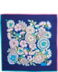 Pañuelo de bolsillo con print de flores azul