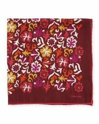Pañuelo de bolsillo con print de flores burdeos