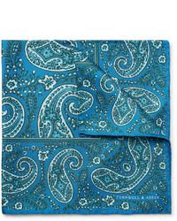 Pañuelo de bolsillo de paisley en verde azulado