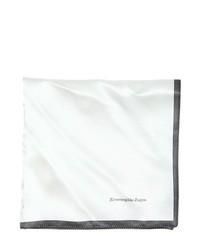 Pañuelo de Bolsillo de Rayas Verticales Blanco y Negro de Ermenegildo Zegna