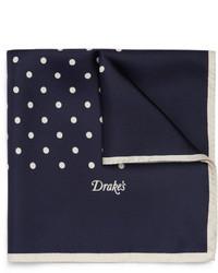 Pañuelo de bolsillo de seda a lunares azul marino de Drakes