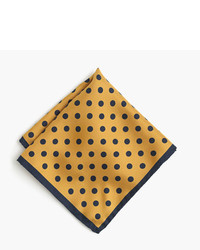 Pañuelo de bolsillo de seda a lunares dorado de J.Crew