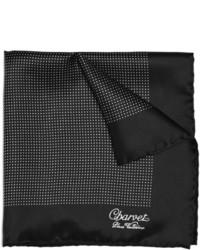Pañuelo de bolsillo de seda a lunares en negro y blanco de Charvet