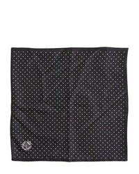 Pañuelo de bolsillo de seda a lunares en negro y blanco de Dolce & Gabbana