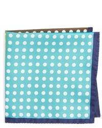 Pañuelo de bolsillo de seda a lunares en turquesa de Eton