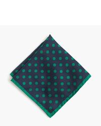 Pañuelo de bolsillo de seda a lunares verde oscuro de J.Crew