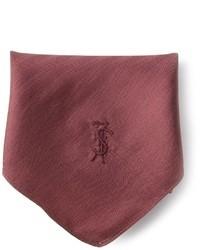 Pañuelo de bolsillo de seda burdeos de Yves Saint Laurent