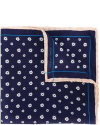 Pañuelo de bolsillo de seda con print de flores azul marino de fe-fe