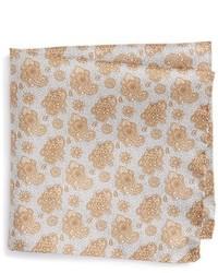 Pañuelo de bolsillo de seda con print de flores marrón claro de Eton