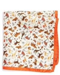 Pañuelo de bolsillo de seda de leopardo naranja de Eton