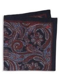 Pañuelo de bolsillo de seda de paisley burdeos