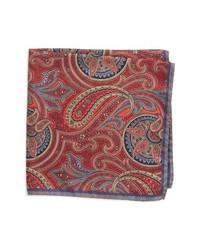 Pañuelo de bolsillo de seda de paisley rojo