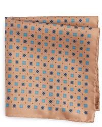 Pañuelo de bolsillo de seda en tabaco de Eton
