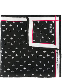 Pañuelo de bolsillo de seda estampado azul marino de fe-fe