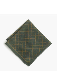 Pañuelo de bolsillo de seda estampado verde oscuro de J.Crew