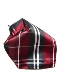 Pañuelo de bolsillo de tartán burdeos
