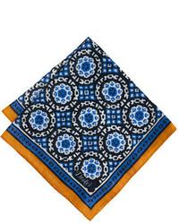Pañuelo de bolsillo estampado azul de Drakes