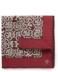 Pañuelo de bolsillo estampado burdeos de Canali