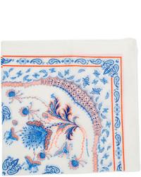 Pañuelo de bolsillo estampado en blanco y azul de Alexander McQueen