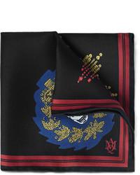 Pañuelo de bolsillo estampado negro de Alexander McQueen