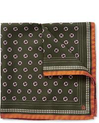 Pañuelo de bolsillo estampado verde oscuro de Dunhill