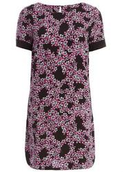 Black and pink floral shift dress medium 123237