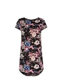 New Look Black Floral Grid Print Tunic Dress