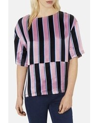 Pink and Black Vertical Striped Short Sleeve Blouse