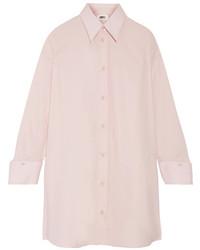 MM6 MAISON MARGIELA Oversized Cotton Poplin Shirt Dress Baby Pink