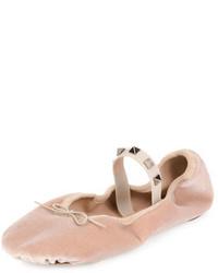 Valentino Garavani Rockstud Velvet Ballerina Flat
