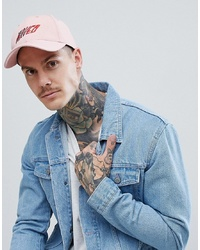 ASOS DESIGN Baseball Cap In Pink With Waved Embroidery