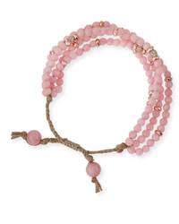 Rosy multistrand beaded bracelet rose god medium 205700