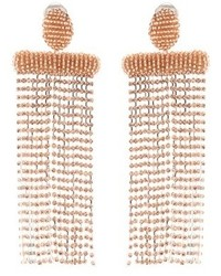 Oscar de la Renta Beaded Clip On Earrings