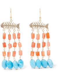 Rosantica Saona Gold Tone Beaded Earrings Coral