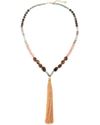 Long multi stone beaded tassel necklace rose quartz mix medium 738607
