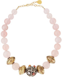 Devon Leigh Rose Quartz Textured Brass Bead Necklace