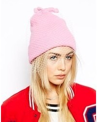 Asos Beanie With Veil And Bow Detail Pink