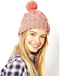 Asos Pastel Bobble Beanie Hat Pink