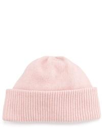 Portolano Cashmere Cuffed Beanie Hat Powder Pink