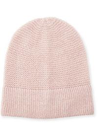 Rebecca Minkoff Garter Stitched Headphone Beanie Hat Light Pink