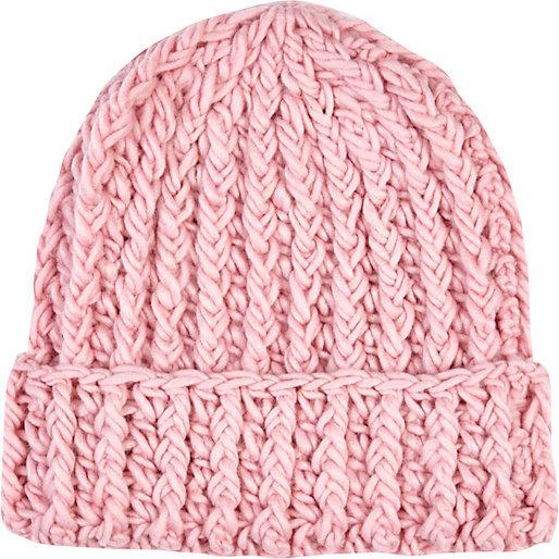 ... River Island Light Pink Chunky Knit Beanie Hat 91c47c3e012