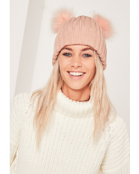 Missguided Double Pom Beanie Hat Pink