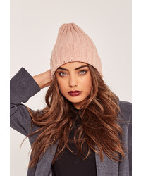 Missguided Plain Ribbed Beanie Hat Pink