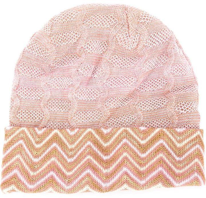 Missoni Signature Zig Zag Knit Beanie Hat e5a804b249f1