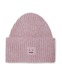 Acne Studios Pansy Appliqud Ribbed Wool Blend Beanie