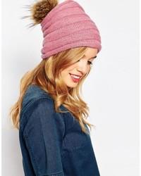 Alice Hannah Purl Stitch Beanie Hat With Faux Fur Pom Pom