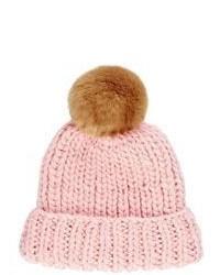 Barneys New York Rib Knit Beanie Pink