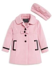 Rothschild Girls Faux Leather Trimmed Melton Coat Beret Set Sizes 2 4t