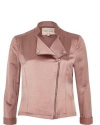 River Island Pink Satin Biker Jacket